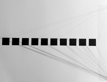 Triptyque #3, 2015 © Haythem Zakaria - pointe tubulaire sur papier, 65 x 300 cm