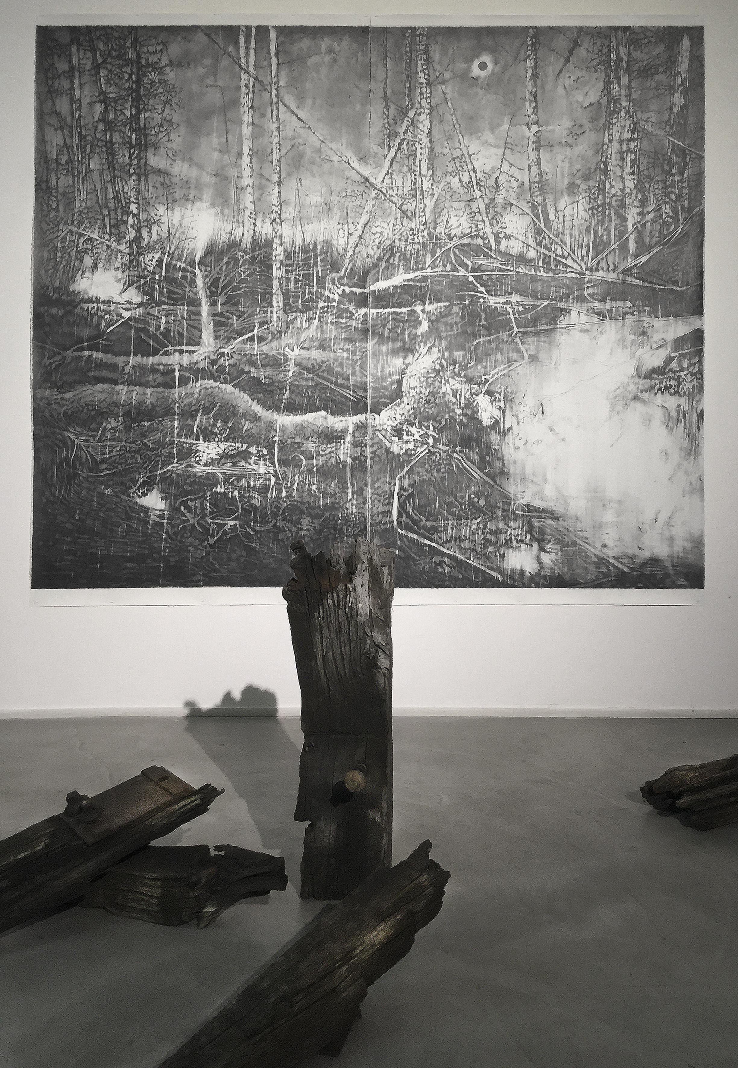 François Réau, 2016 - Mine de plomb et graphite sur papier. 210 x 228 cm Bois, pièces métalliques et rouille. Dimensions variables Vue d'exposition, Loft19 Galerie Suzanne Tarasiève, Paris, France