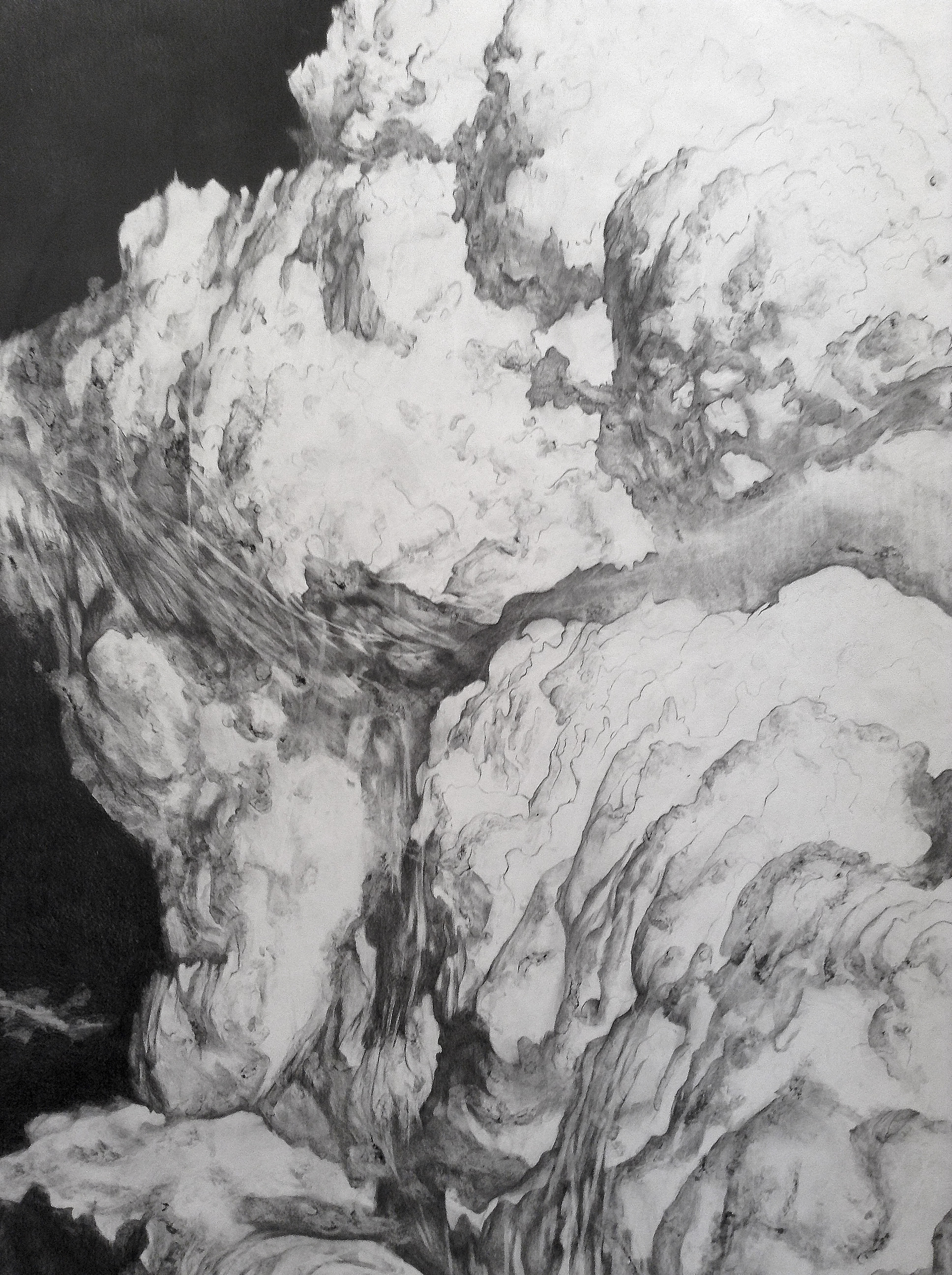 François Réau, 2016 - Mine de plomb, graphite et incisions sur papier. 280 x 365 cm Fil à plomb, dimensions variables Vues d'exposition, DDessin 16, Atelier Richelieu, Paris, France
